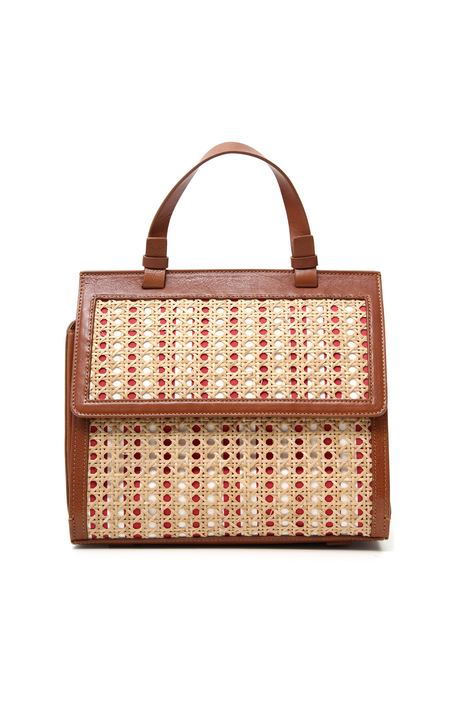 Hand bag in straw and leather Intrend