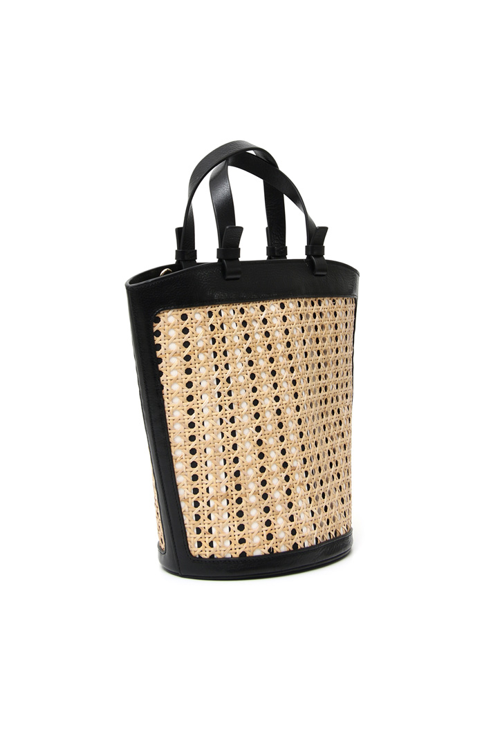 Straw and leather bucket bag Intrend