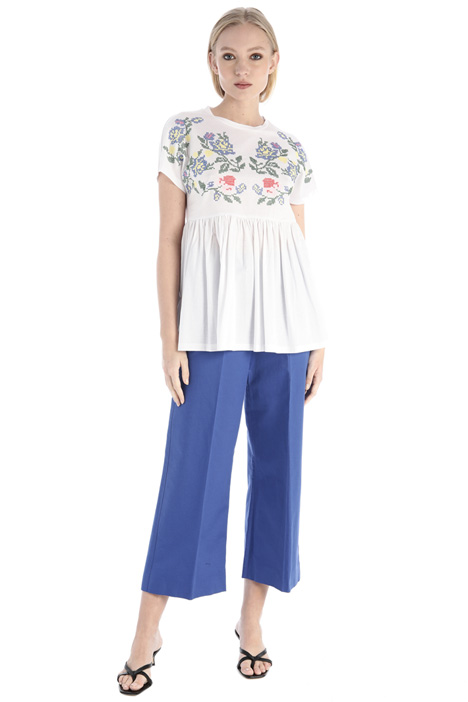 Embroidered cotton jersey T-shirt Intrend