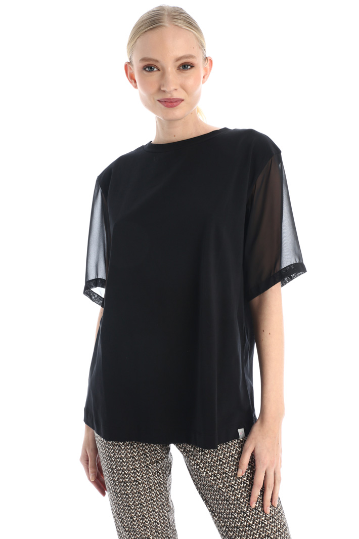 Chiffon sleeve T-shirt Intrend