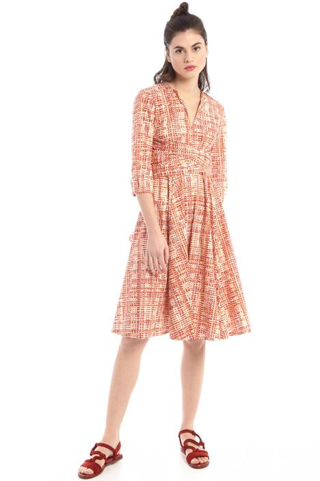 Sash-detailed cotton dress Intrend