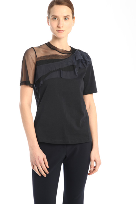 T-shirt with tulle inserts  Intrend