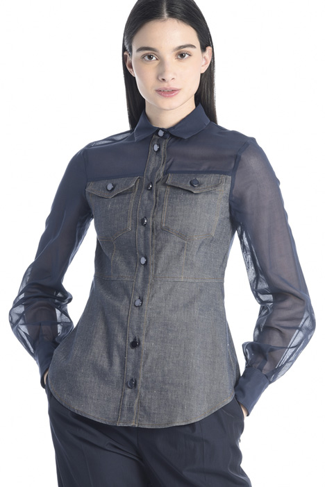 Denim-effect twill shirt Intrend