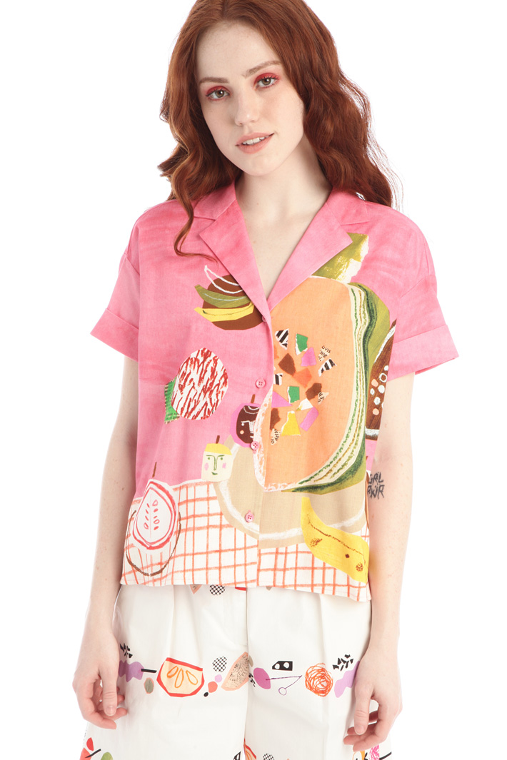 Printed canvas shirt Intrend