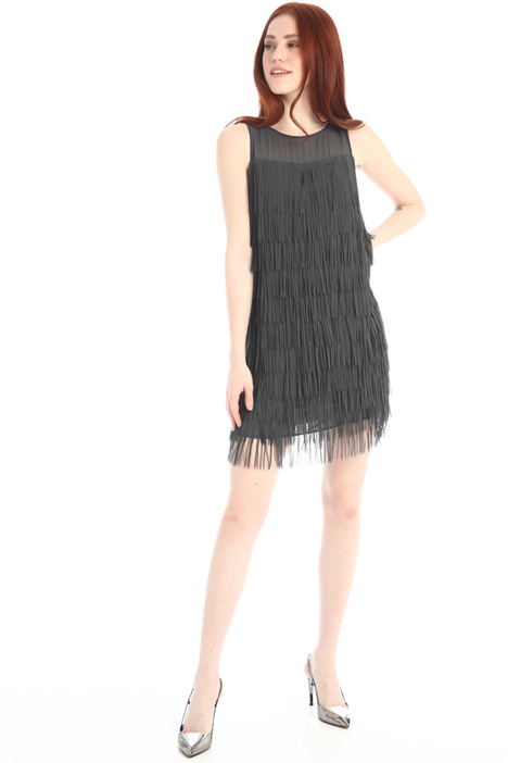Fringed georgette dress Intrend