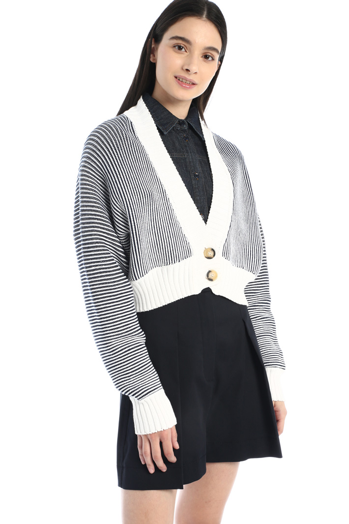 Yarn-dyed ribbed cardigan Intrend