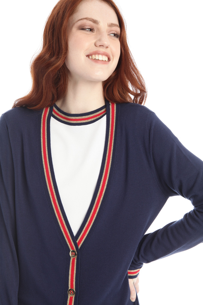 Contrasting detail cardigan Intrend