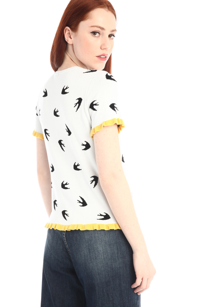 Frilled knit T-shirt Intrend