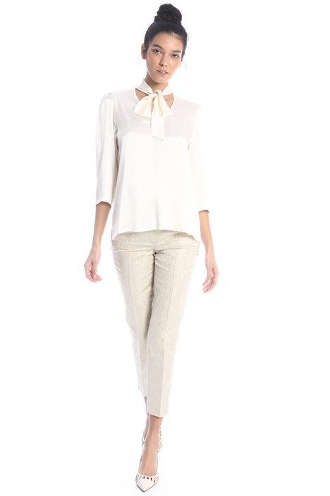 Satin blouse with puff sleeves Intrend