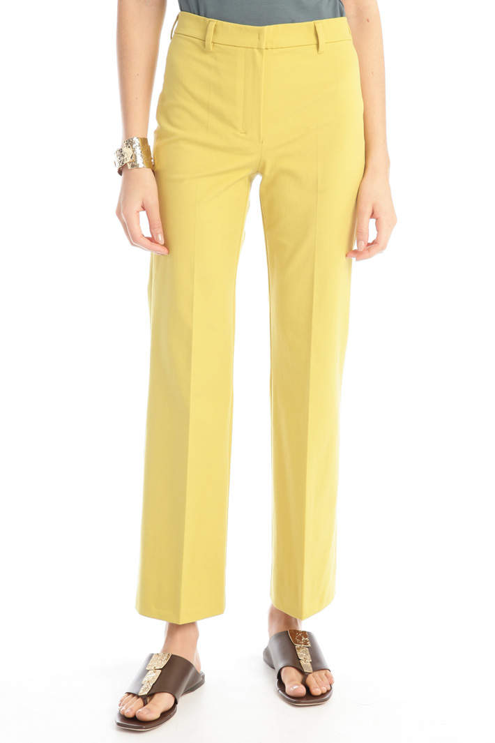 Flared leg cotton trousers Intrend