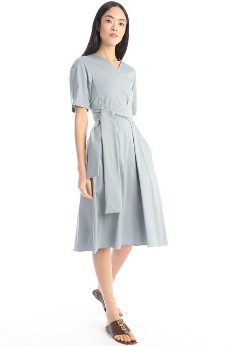 Poplin dress with sash Intrend