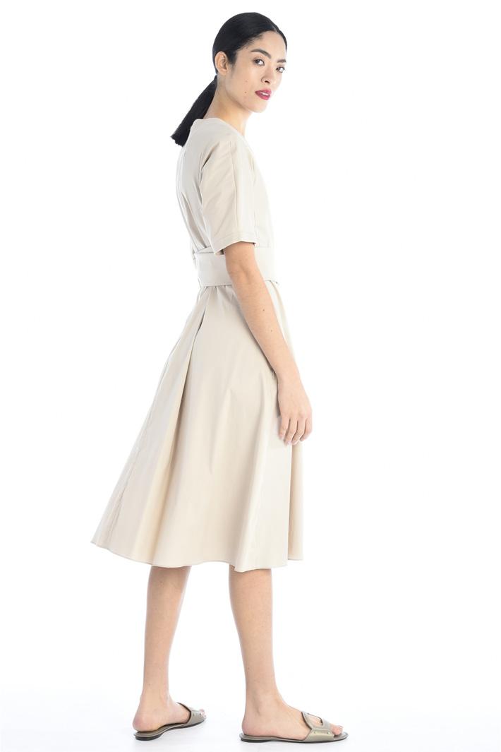 Poplin dress with sash Intrend