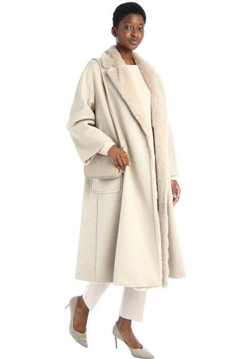 Cappotto in drap e visone Intrend