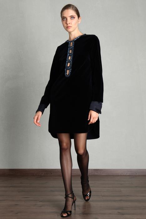 Rhinestone velvet dress Intrend