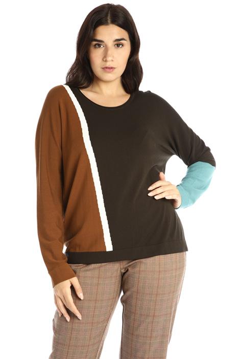 Colour-block viscose sweater  Intrend