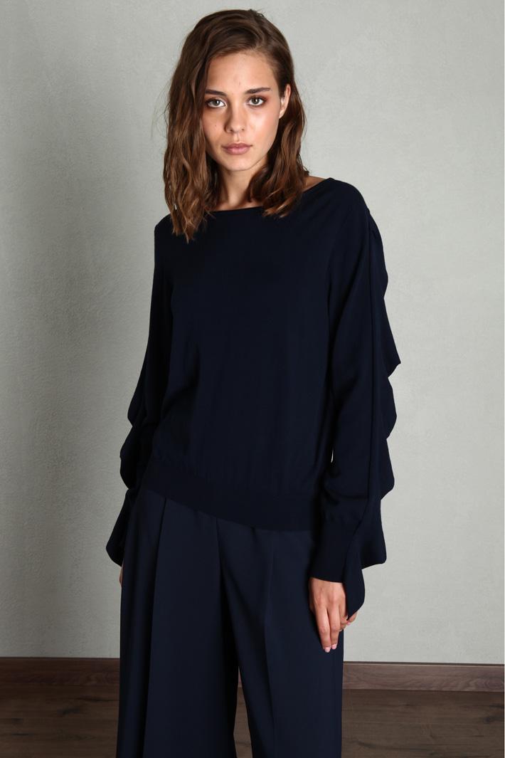 Flounced sleeve sweater Intrend
