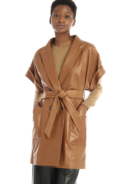 Belted nappa leather overcoat Intrend
