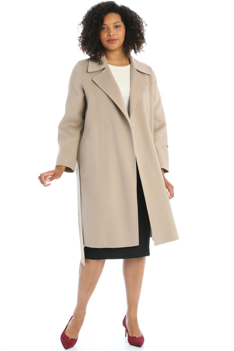 Wool coat with leather details Intrend
