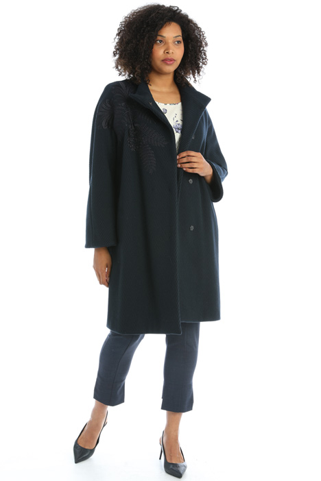 Embroidered wool blend coat  Intrend