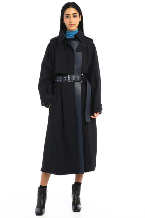 Faux-leather detailed trench Intrend