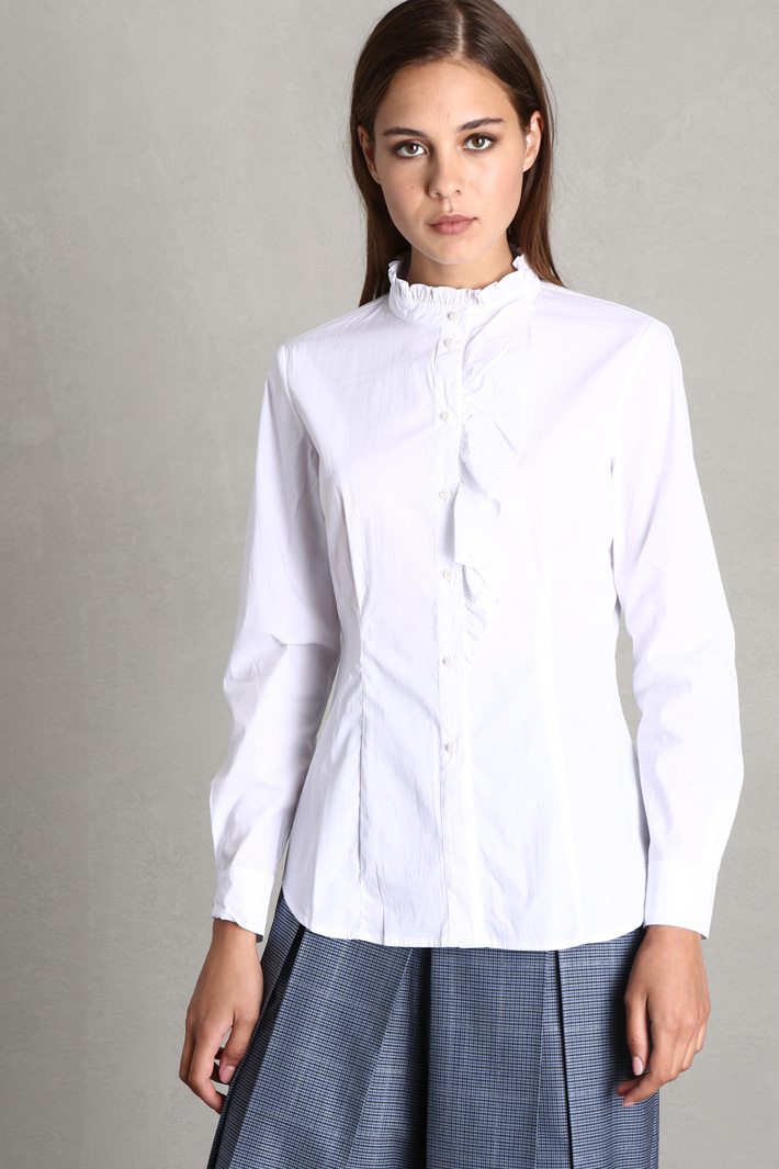 Frilled poplin shirt Intrend
