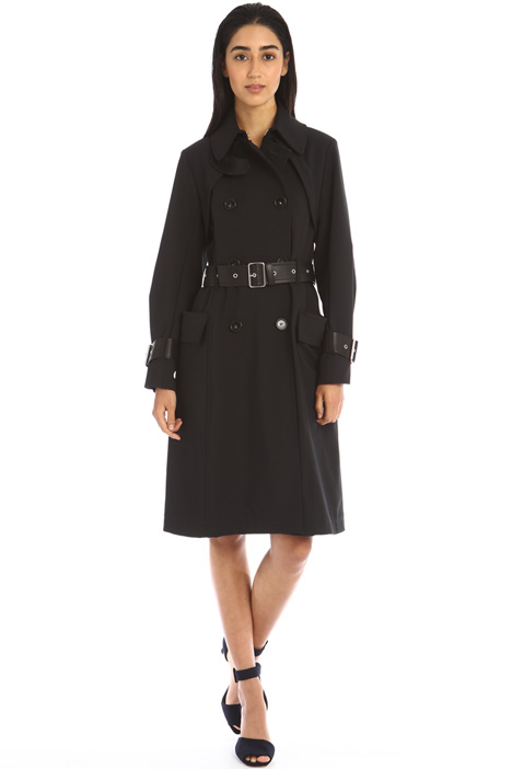 Faux leather detailed trench Intrend