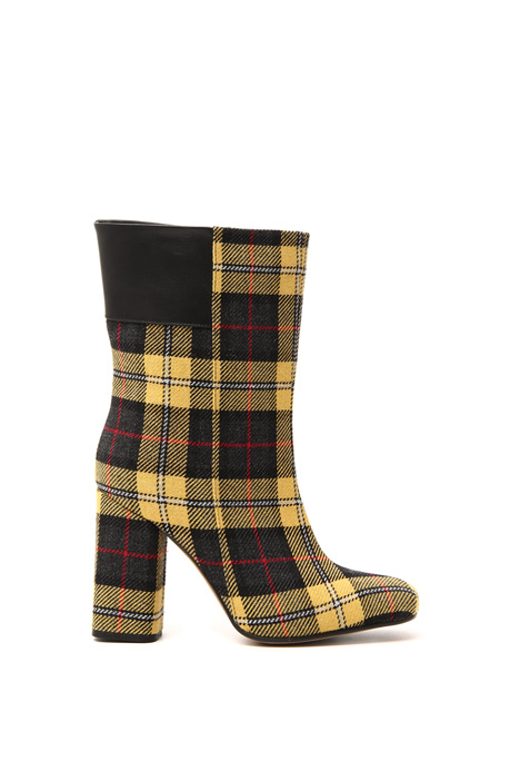 Tartan and leather ankle boots Intrend