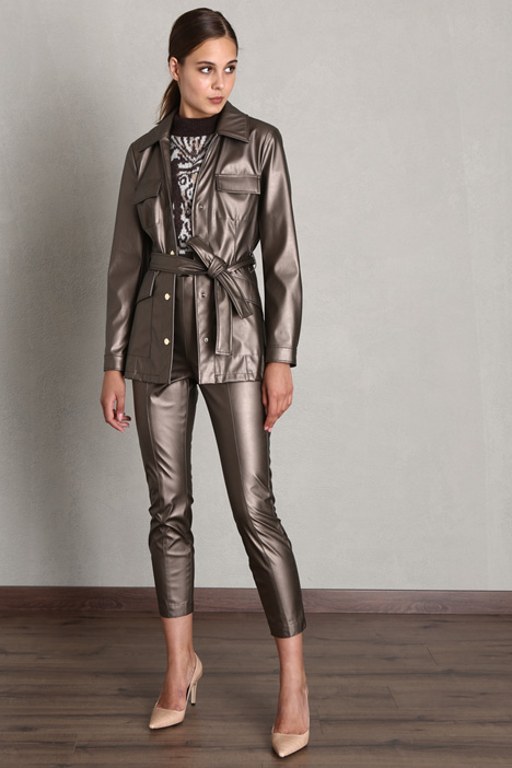 Faux leather sahariana jacket Intrend