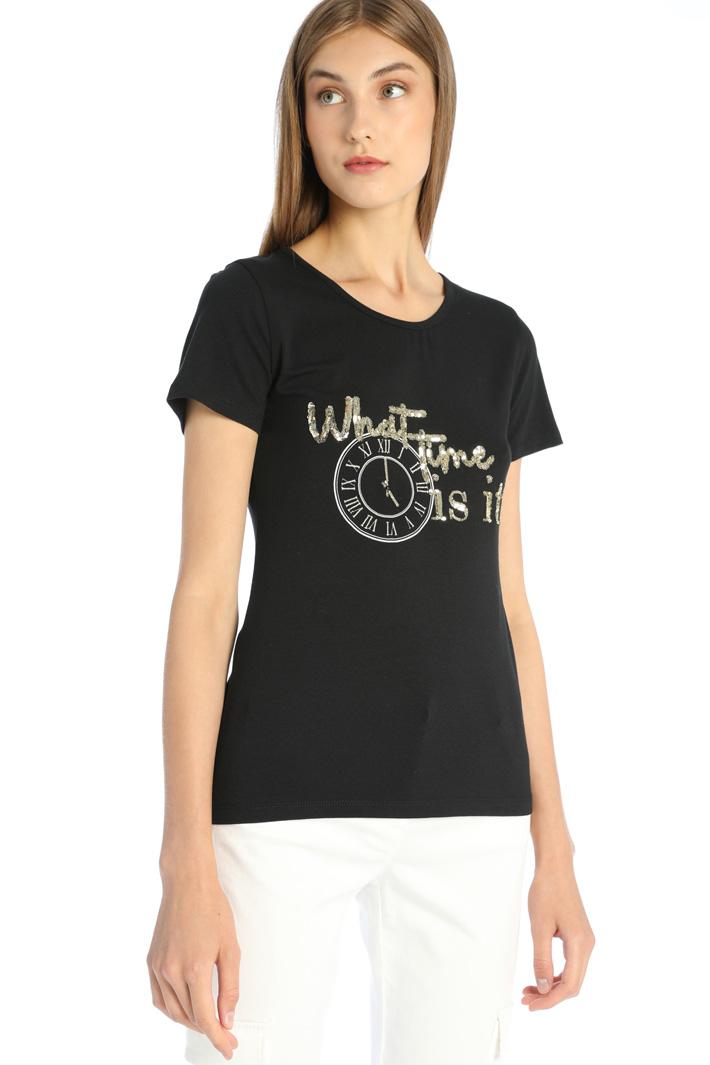 Rhinestone-detailed T-shirt Intrend