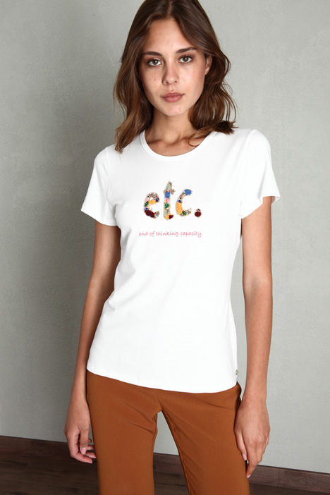 T-shirt in cotone con strass Intrend