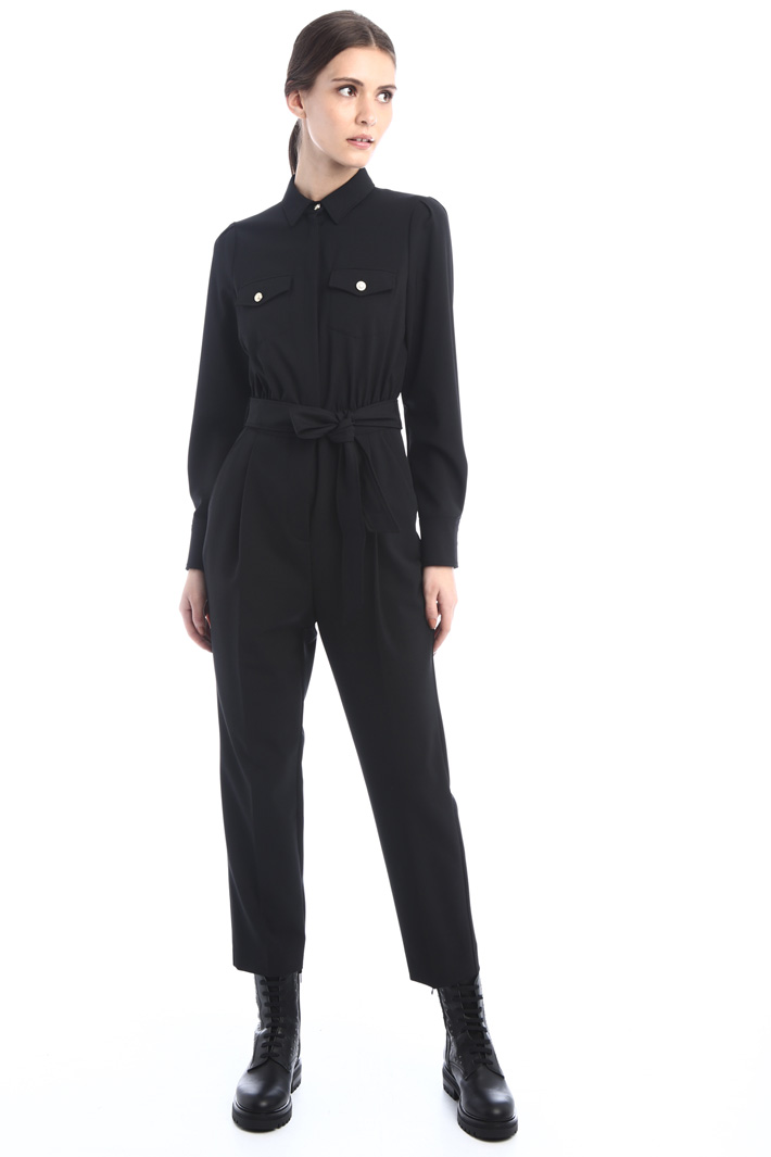 Twill belted jumpsuit Intrend