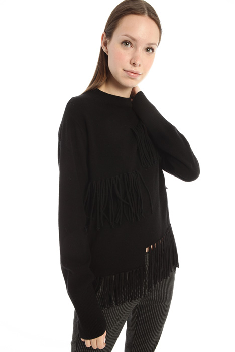 Fringed wool sweater Intrend
