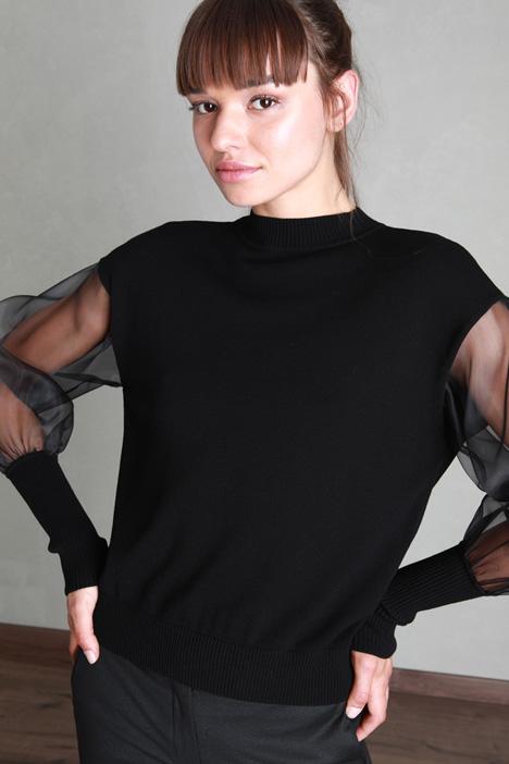 Organza sleeve sweater Intrend