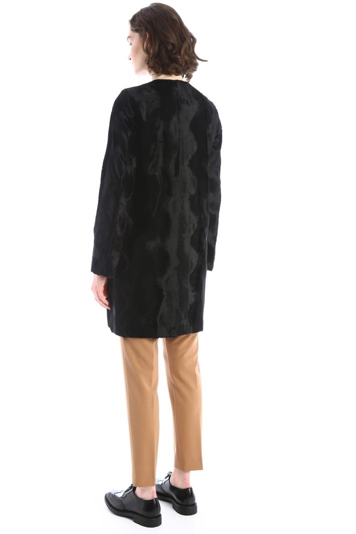 Fur-effect duster coat Intrend