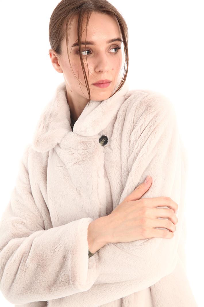 Fur effect overcoat Intrend