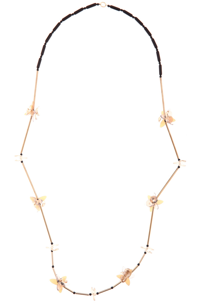 Necklace with flowers and baguette beads Intrend