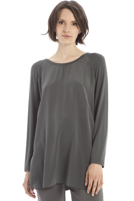 Silk crepe and jersey top Intrend
