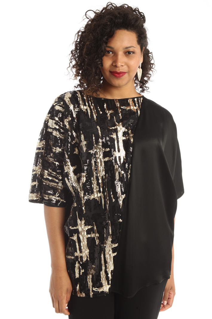 Viscose and tulle tunic  Intrend