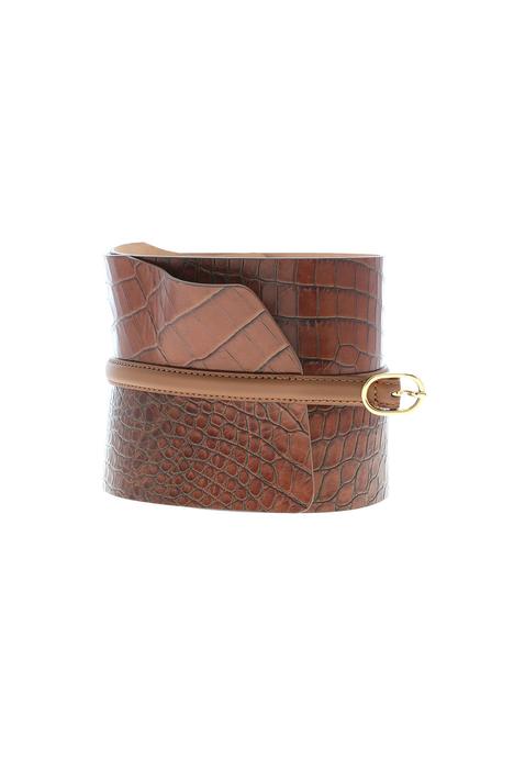 Crocodile-print leather belt Intrend