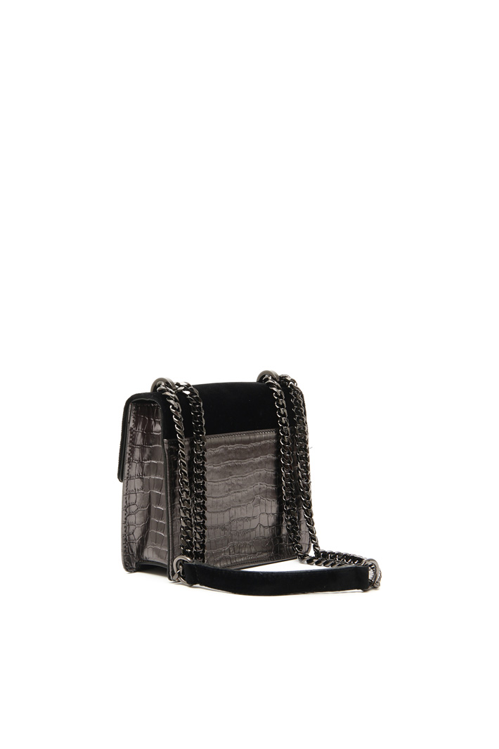 Leather and velvet bag Intrend