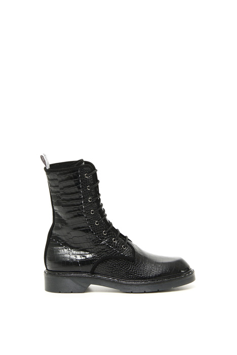 Crocodile-print leather boots Intrend