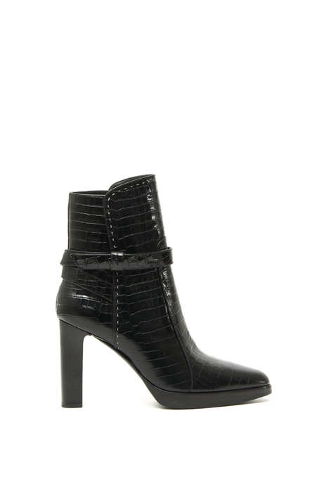 Croc-print leather ankle boots Intrend