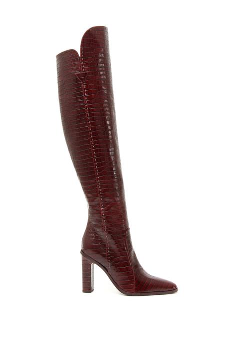 Croc print high boots Intrend