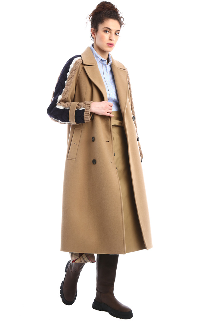 Knitted sleeve wool coat Intrend