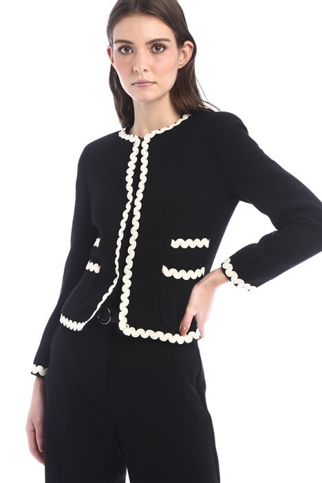 Wool jacket with piping Intrend