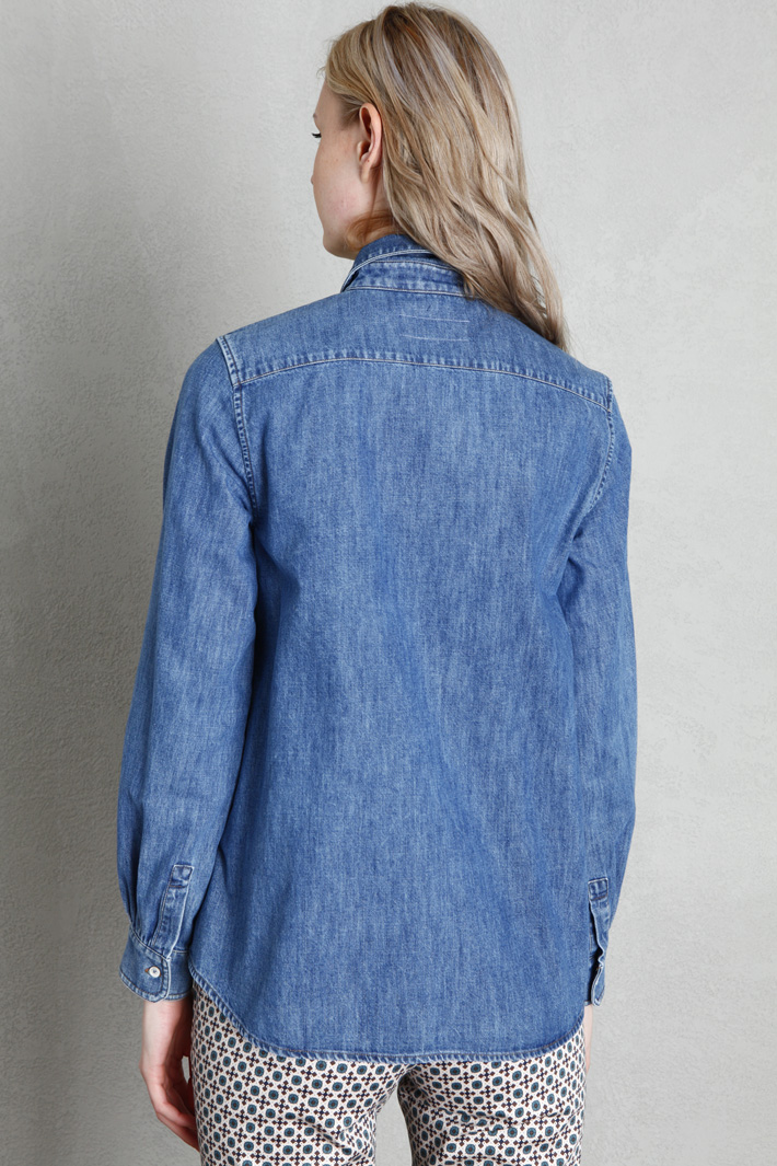 Frilled cotton denim shirt Intrend