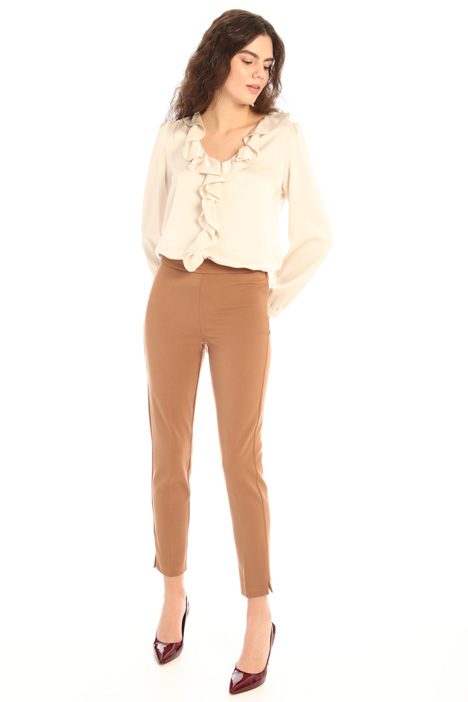 Front flounce satin blouse Intrend