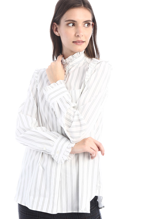 Frilled cotton poplin shirt Intrend