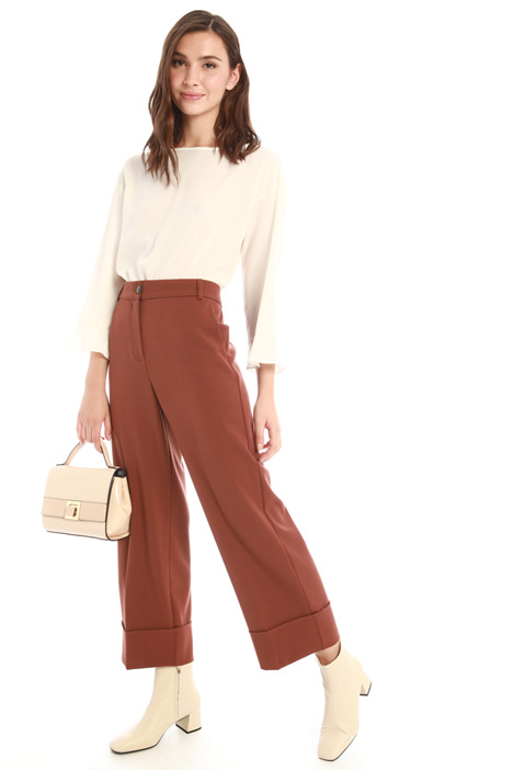 Cropped viscose blend trousers Intrend