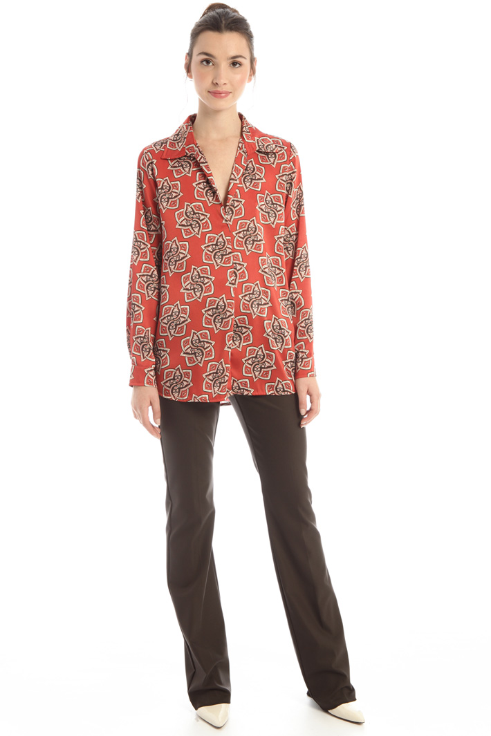 Asymmetrical twill blouse Intrend